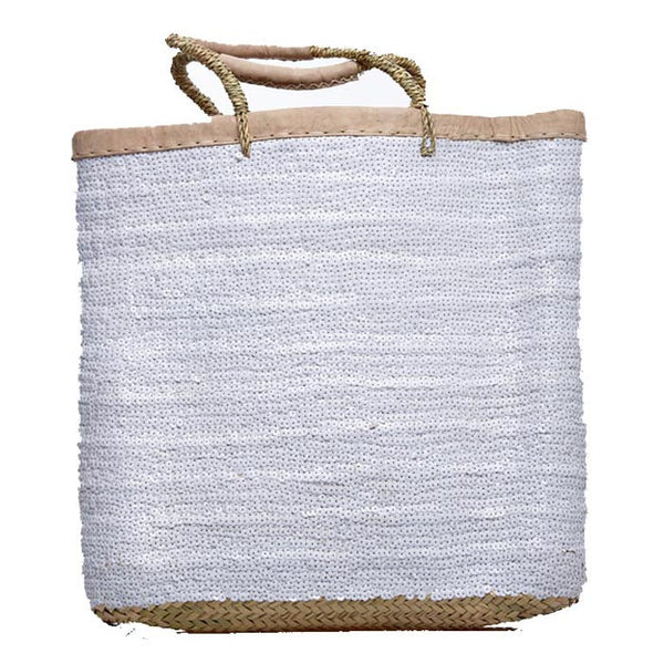 White Sequined Tall Raffia Tote