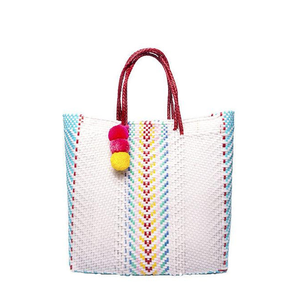 White Stella Medium Short Handle Tote
