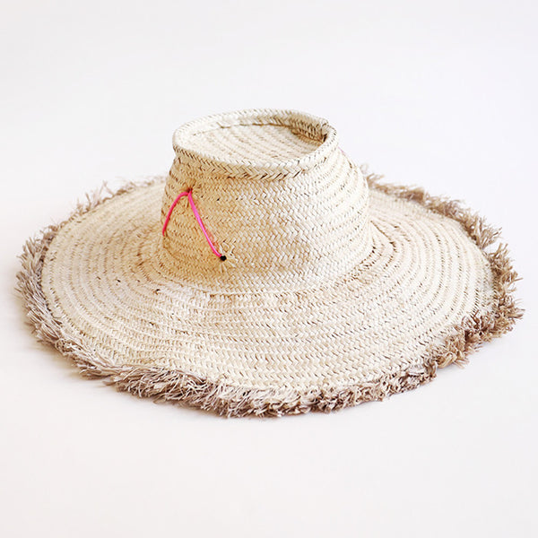 Woven Hat with Pink Rubber Accent