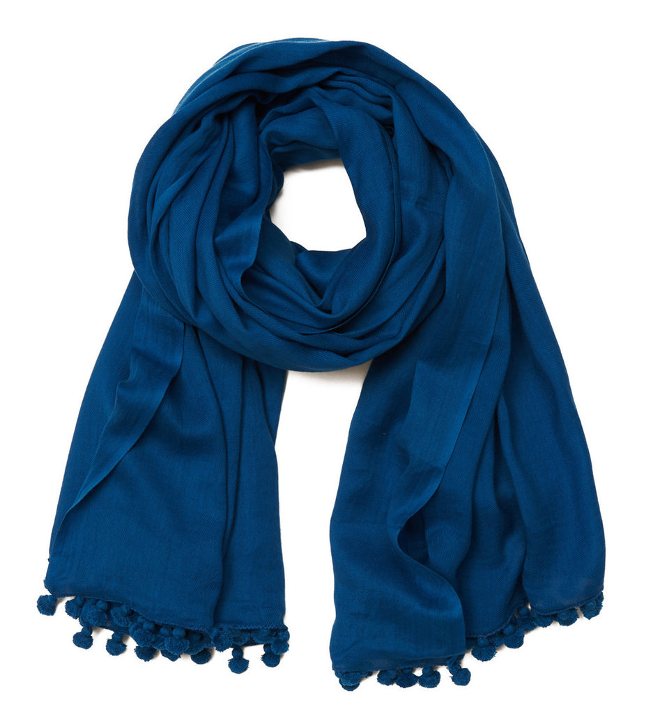Blue Cotton Pom Pom Scarf & Sarong