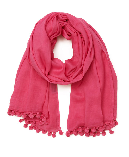 SHOP LATITUDE BAZAAR, Bright Pink Cottom Pom Pom Scarf