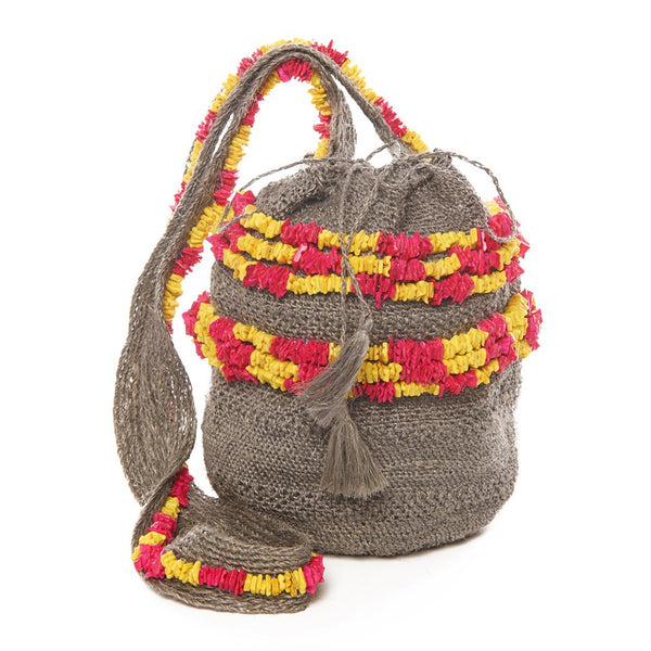 Yellow And Fuchsia Shell Raffia Mochila Bag