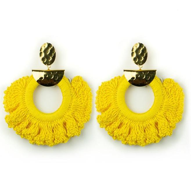 Yellow Crochet Ximena Earrings