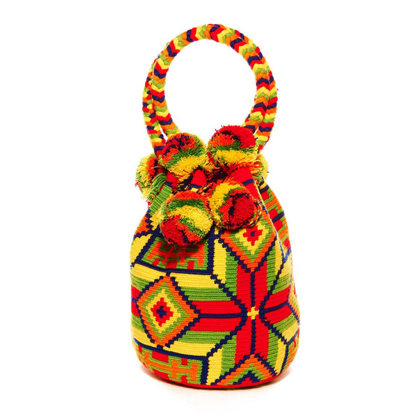 Yellow Red Multi Cotton Medellin Mochila Tassel Bag
