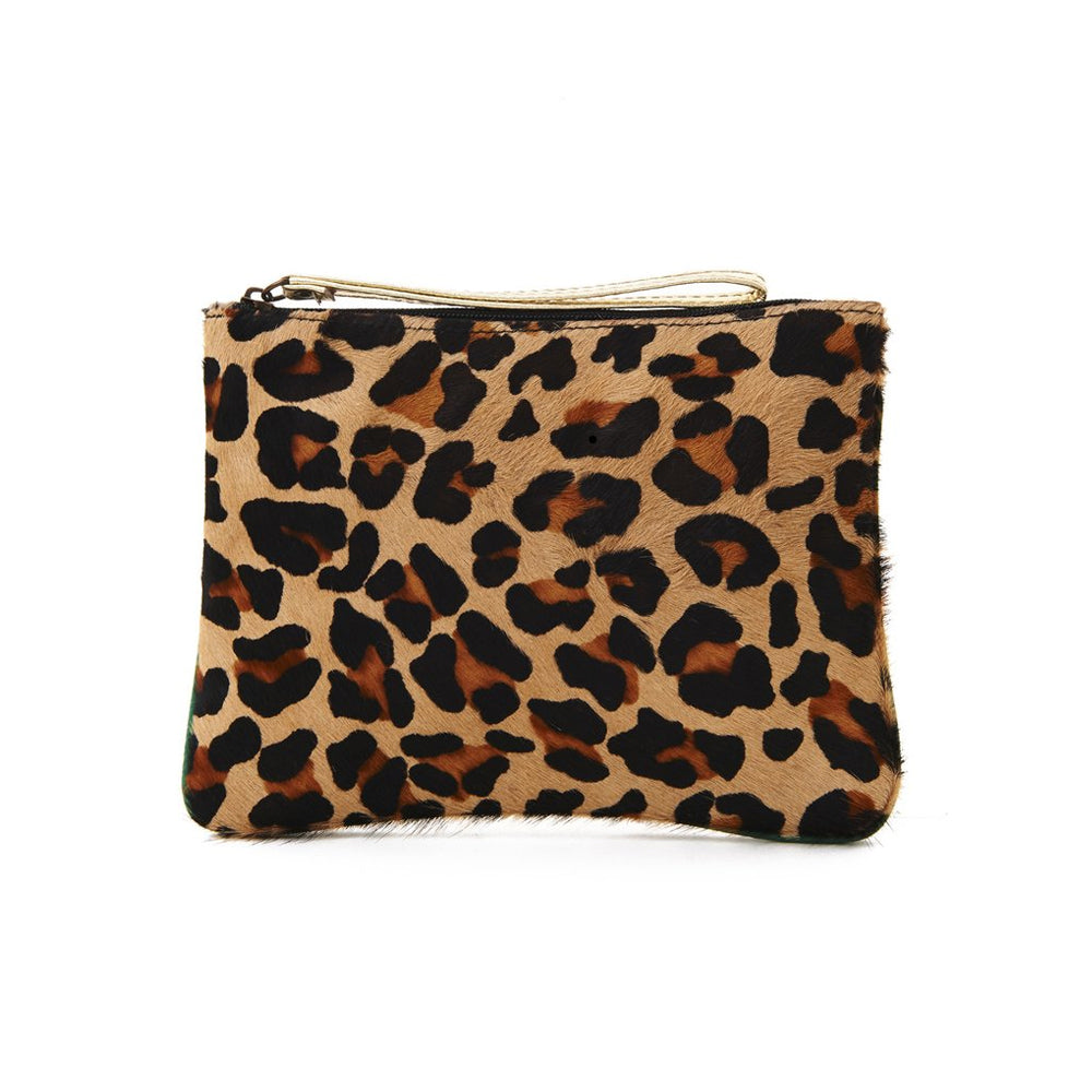 Yellow Trim Leopard Print Pony Hair Mina Pouch