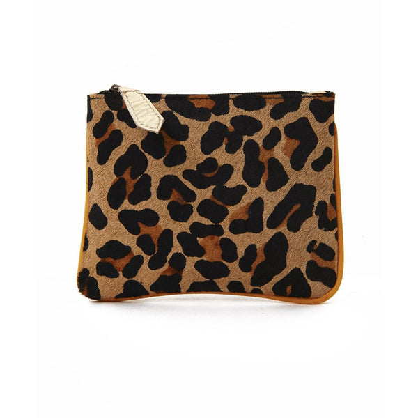 Yellow Trim Leopard Print Pony Hair Pouch