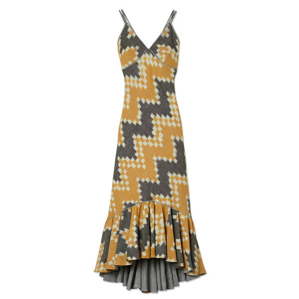 Yellow and Grey Cotton Reversible Ikat Maxi Dress