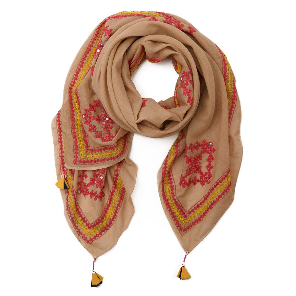 Tan Cotton Pink Yellow Embellished Sindh Scarf
