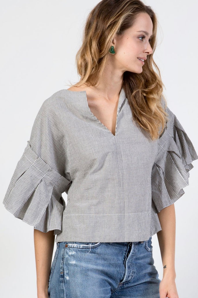 Gray Amer Striped Cotton Top