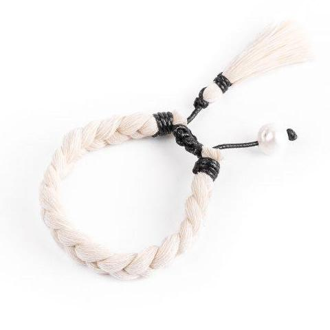 Amuleto Raw Cotton & Pearl Bracelet