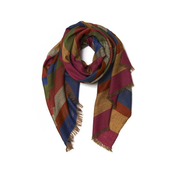 ANDRAAB, Multi Colored Stripe Cashmere Pashmina Ratekoul Khadi Scarf
