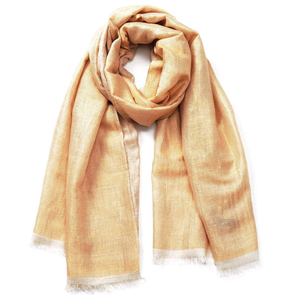 Reversible White and Gold Zari Cashmere Scarf