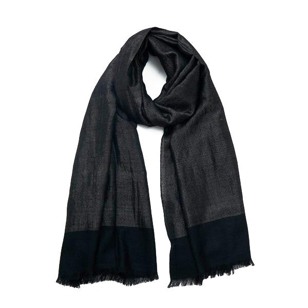 Black and Silver Sehra Zari Cashmere Scarf