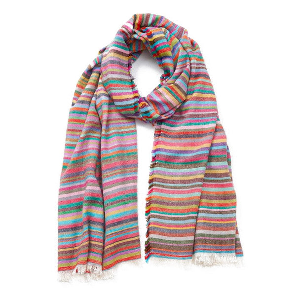 Rang Biraanga Striped Cashmere Fringed Shawl