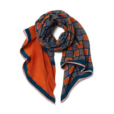 Blue And Orange Pashmina Cashmere Mayra Scarf