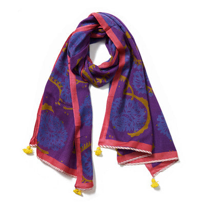 Bright Purple Multi Cashmere Pashmina Scarf