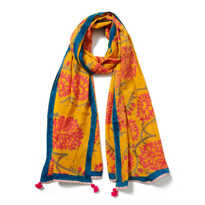 Golden Yellow Multi Cashmere Pashmina Scarf
