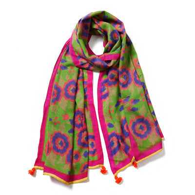 Green and Pink Multi Cashmere Pashmina Scarf