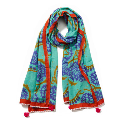 Light Blue Multi Cashmere Pashmina Scarf