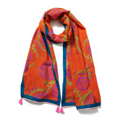 Orange Multi Cashmere Pashmina Scarf