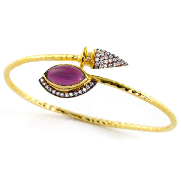 Fuchsia 18K Gold Plated Milka Bangle Bracelet