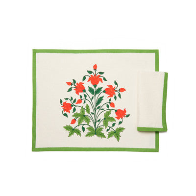 Green Mughal 3 Flower Place Mat and Napkin Set