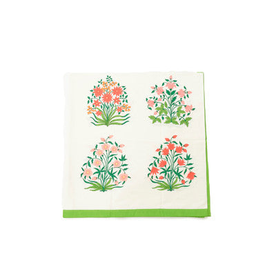 Green Mughal Flower Table Cloth and Napkin Set