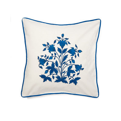 Navy Burst Mughal Flower Cushion Cover