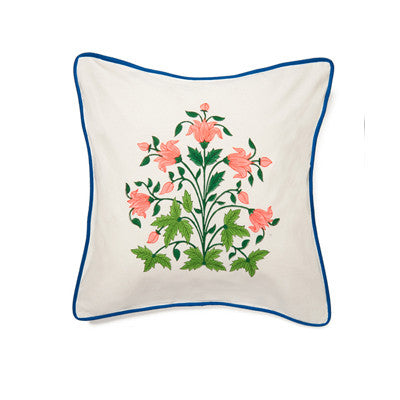 Pink Mughal Flower Cushion Cover