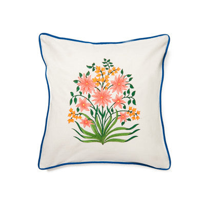 Pink Multi Mughal Flower Cushion Cover