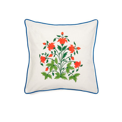 Red Mughal Flower Cushion Cover