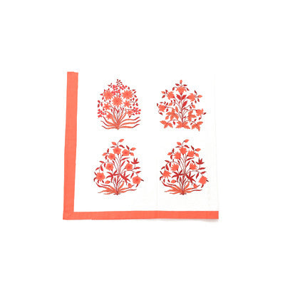 Red Mughal Flower Table Cloth and Napkin Set