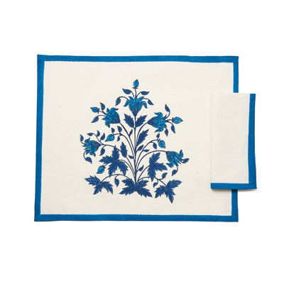 Blue Mughal 14 Flower Place Mat and Napkin Set