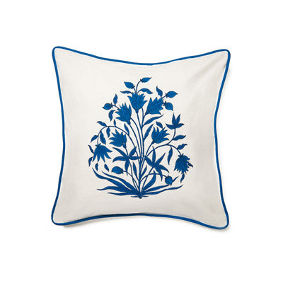 Navy Mughal Flower Cushion Cover