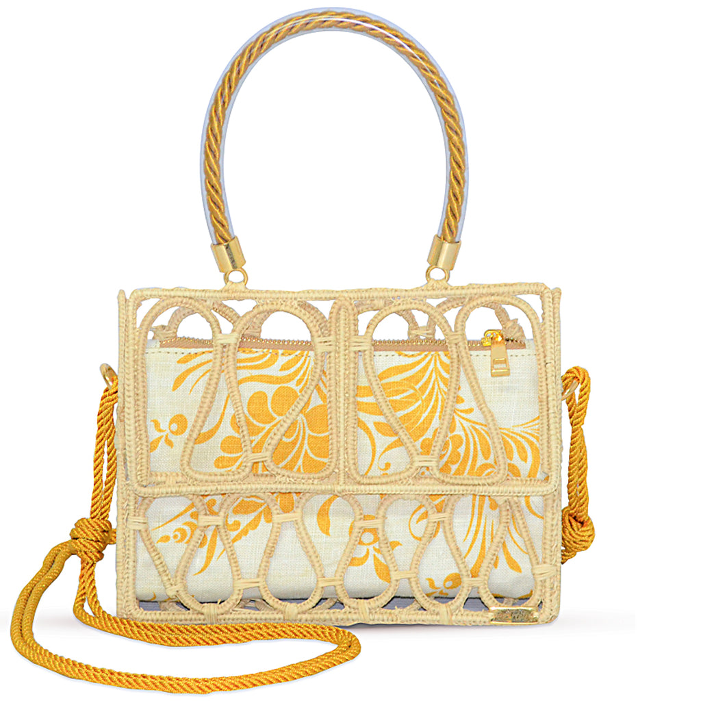 Yellow Palm Baul Shoulder Bag