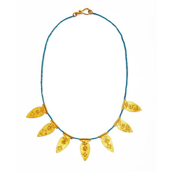 SHOP LATITUDE BAZAAR ISTANBUL, Blue Gold Plated Silver Byzantine Necklace