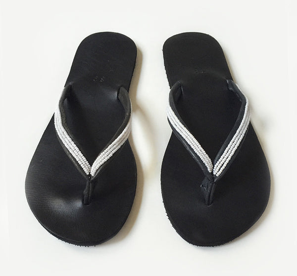 PLUME, Black and White Beaded Thong Sandals