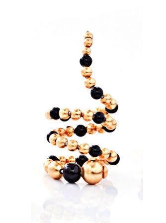 24K Gold-Plated Brass Onyx Triple Layer Adriane Mix Ring