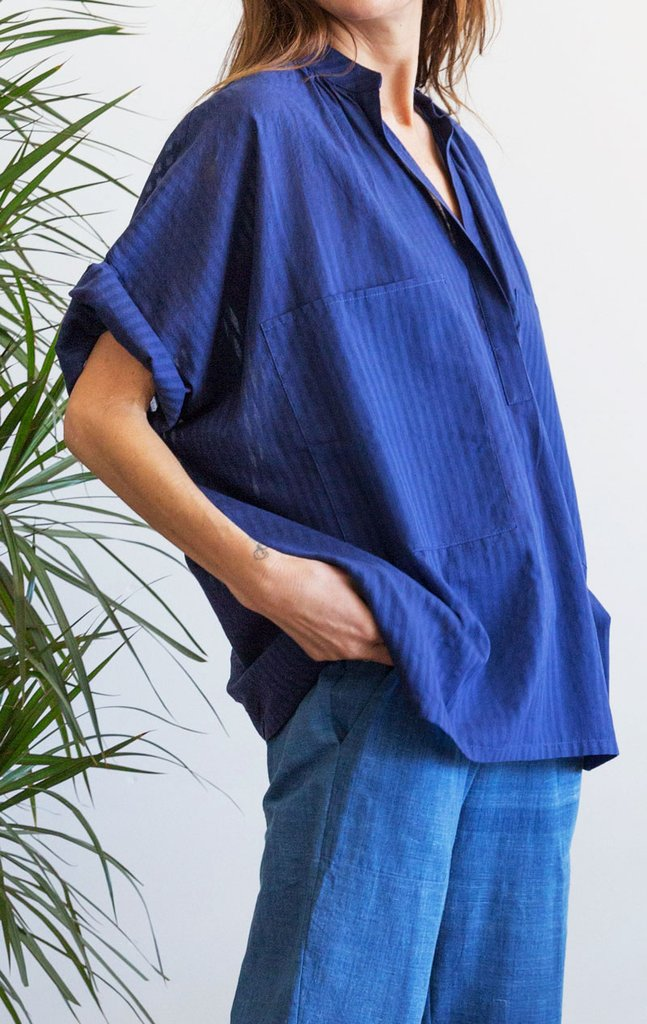 Blue Two Pocket Khadi Cotton Shirt