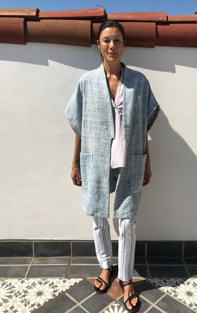 Indigo Khadi Cotton Layering Coat