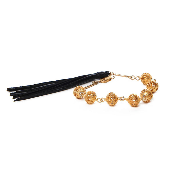 18K Gold Plated Silver Filigree Leather Tassel Guadalupe Bracelet