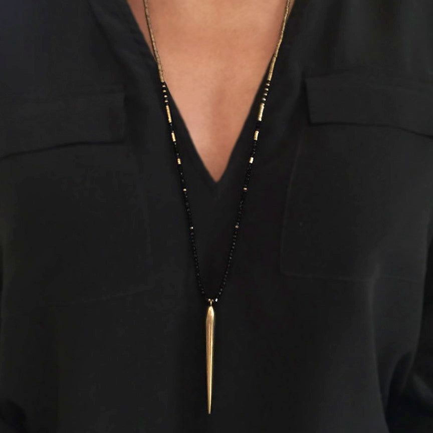 Gold & Onyx Brass Necklace