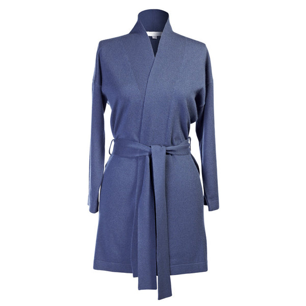 Short Navy Pera Cashmere Robe