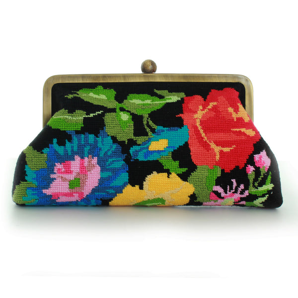 Classic Flower Canva Black Clutch