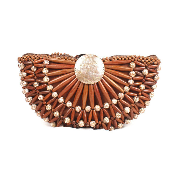 Brown Dolores Wood Clutch