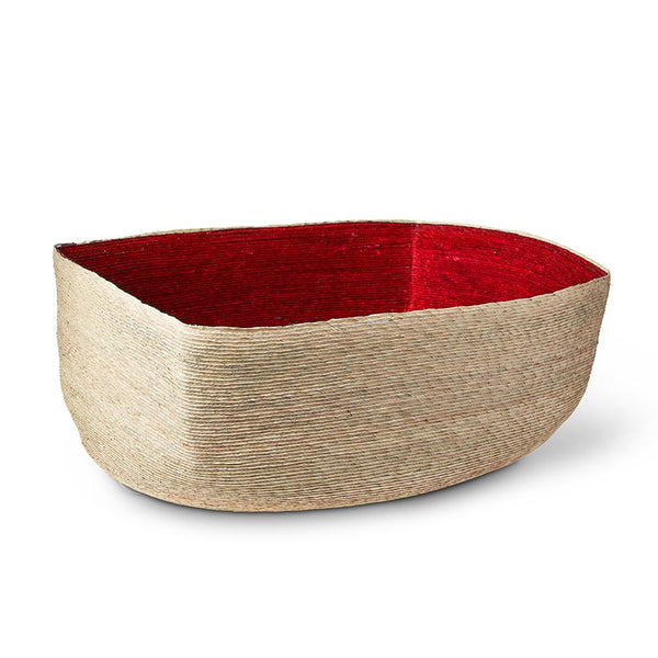 Large Natural & Red Rectangular Basket
