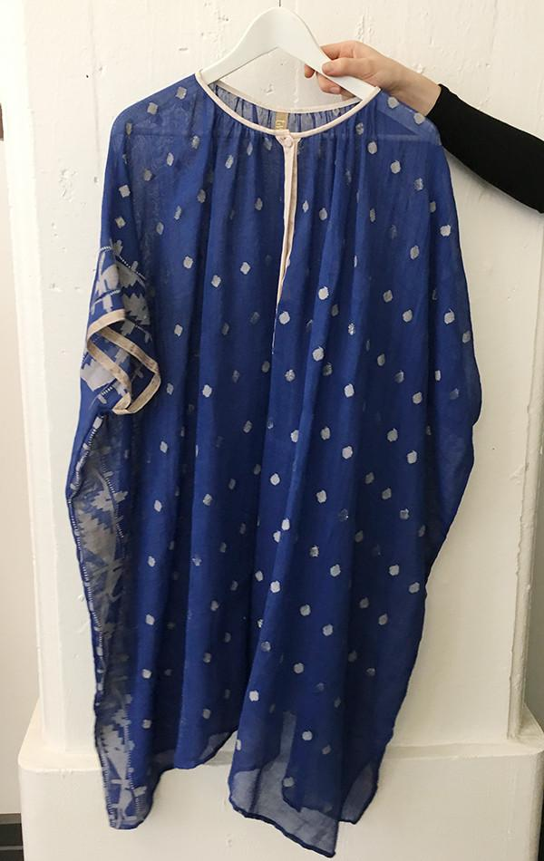 Blue Button Dhaka Cotton Caftan