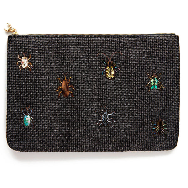 Black Raffia Bug Clutch