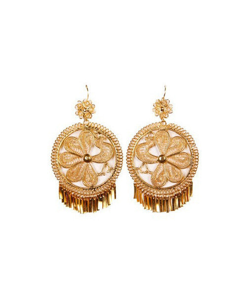 18K Gold Plated Silver Filigree Tassel Maria Dolores Earrings