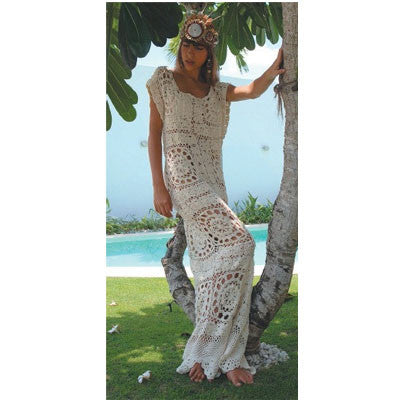 Long Cream Crochet Siren Dress